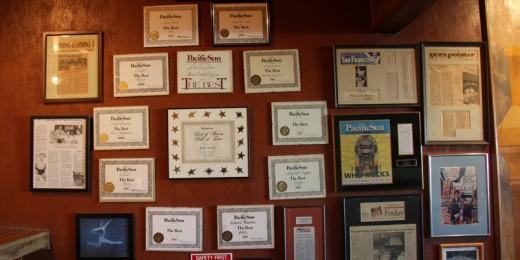 Wall of LoCoco's Awards